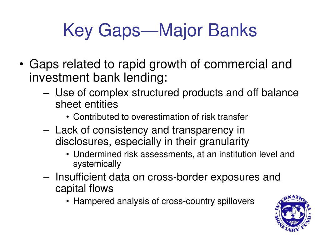 Key Gaps—Major Banks