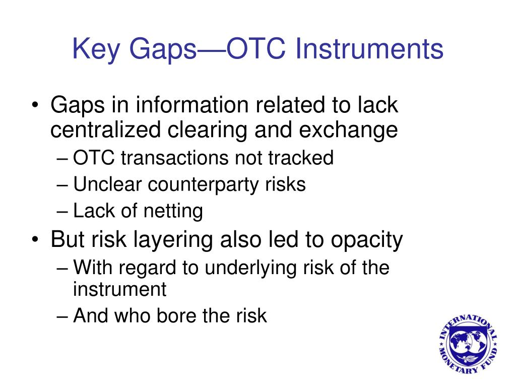 Key Gaps—OTC Instruments