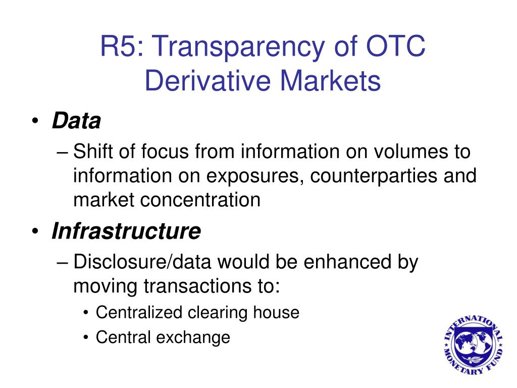 R5: Transparency of OTC Derivative Markets