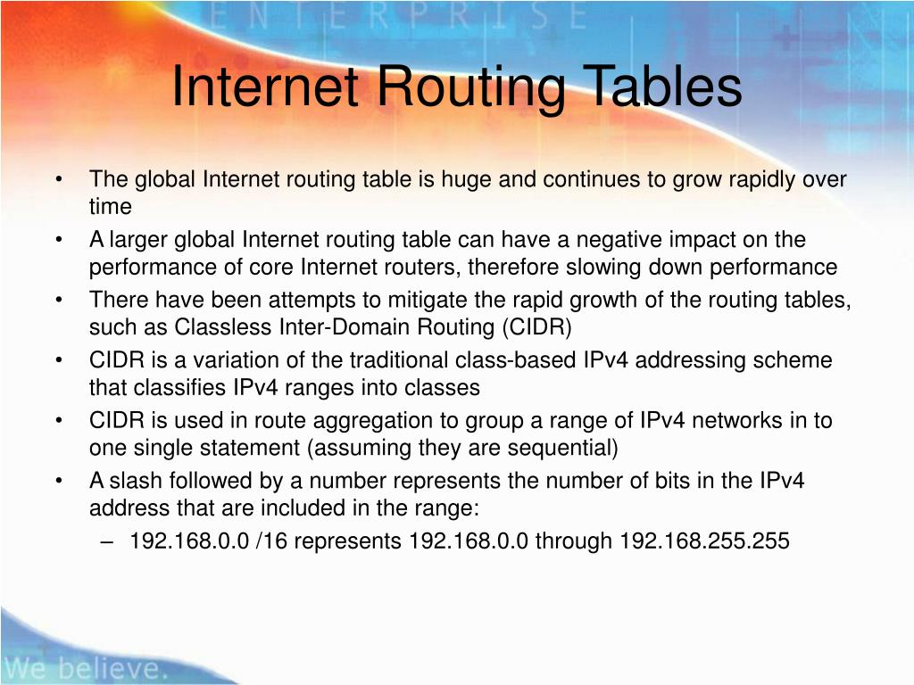 Internet Routing Tables