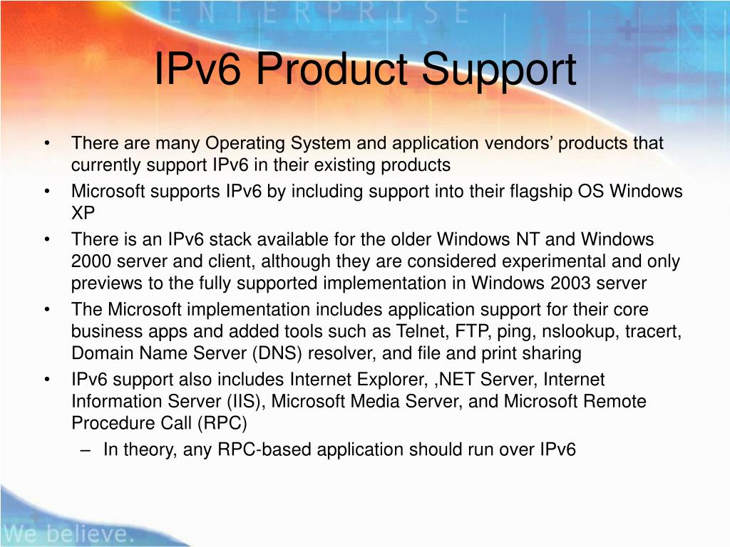 IPv6 Product Support