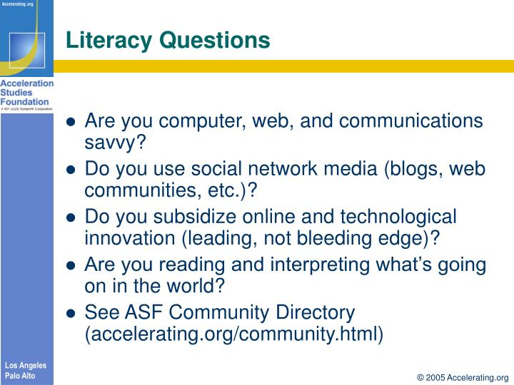 Literacy Questions