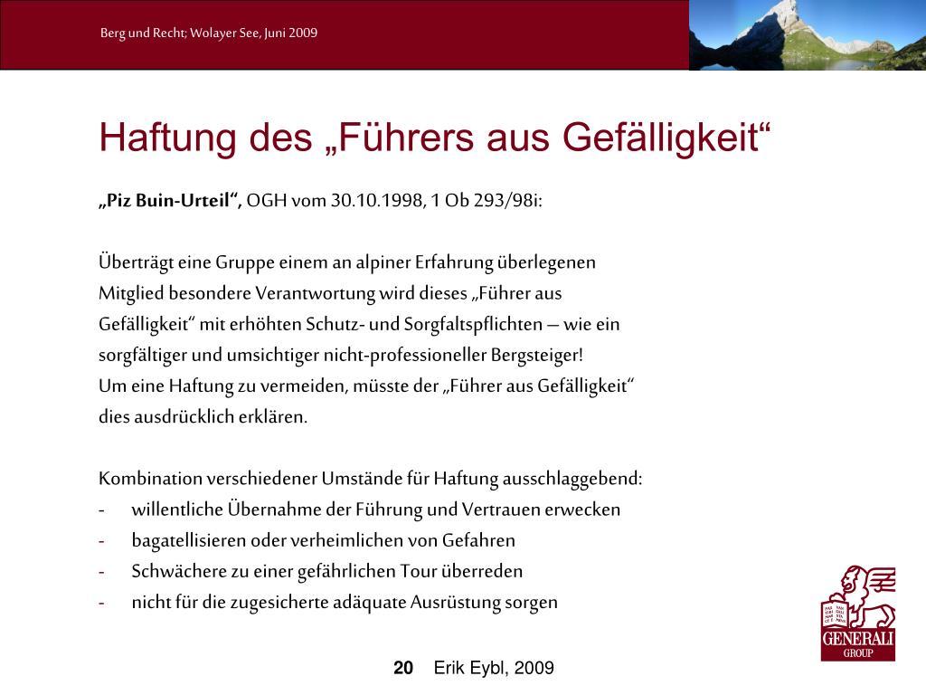 """Haftung des """"Führers aus Gefälligkeit"""""""