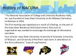 history of nacurh