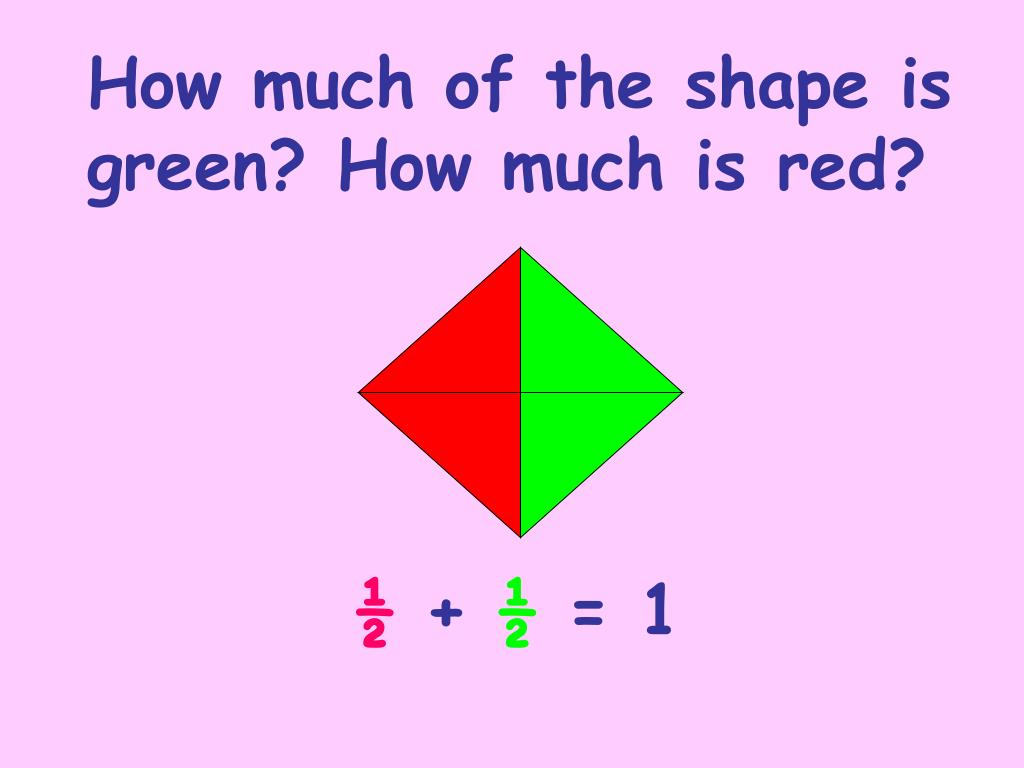 How much of the shape is green? How much is red?