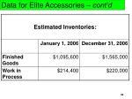 data for elite accessories cont d