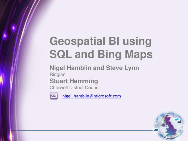Geospatial BI using