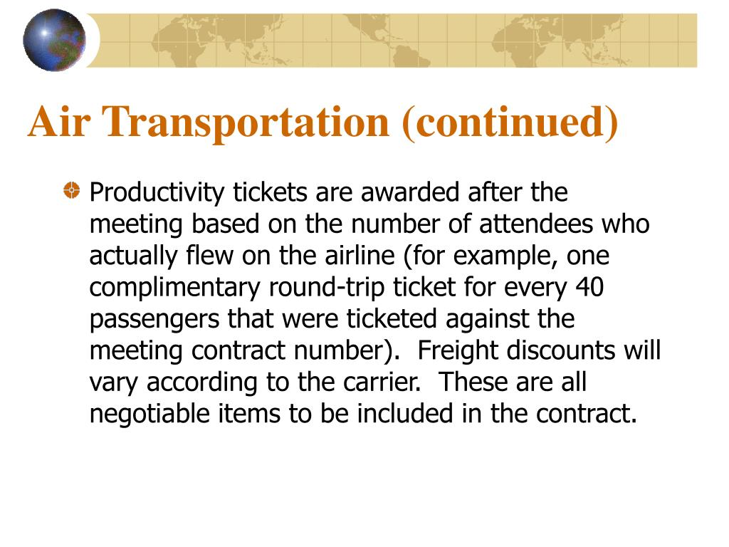 Air Transportation (continued)