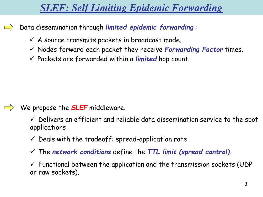 SLEF: Self Limiting Epidemic Forwarding
