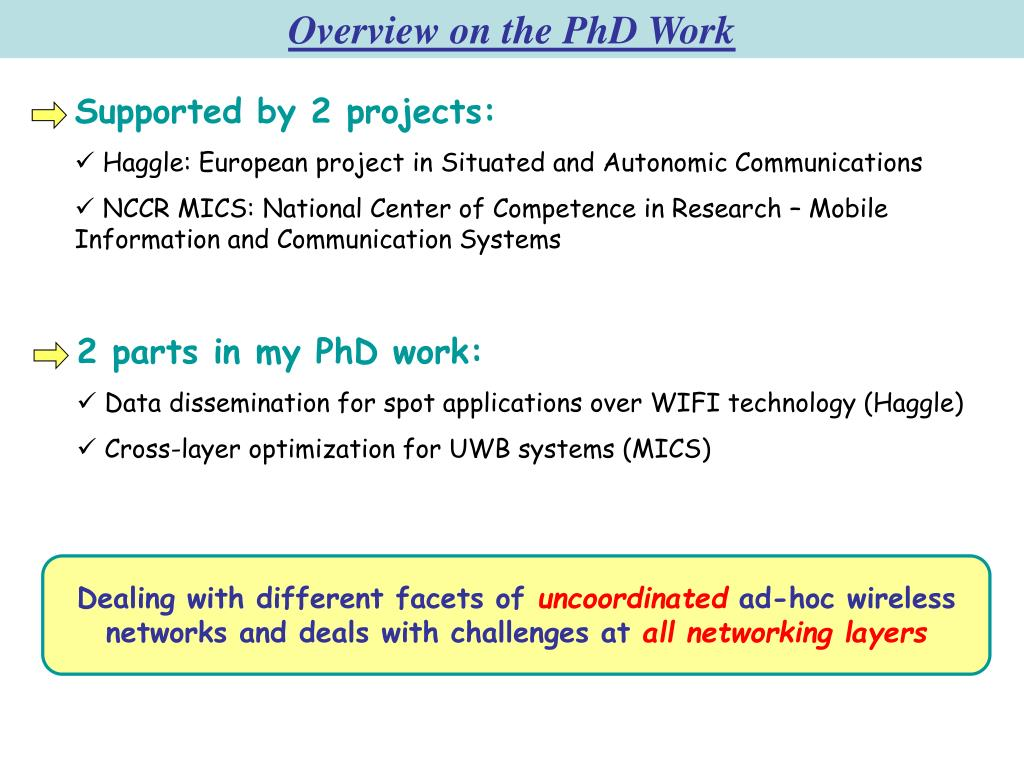 Overview on the PhD Work