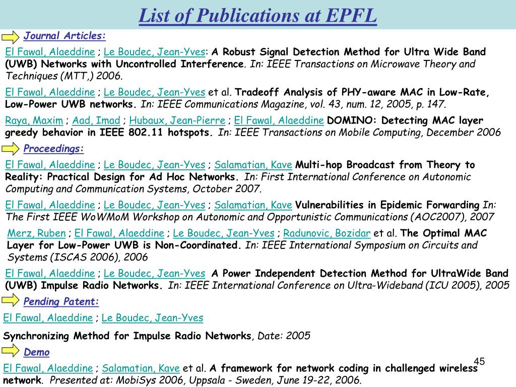 List of Publications at EPFL