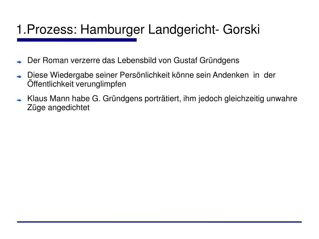 1.Prozess: Hamburger Landgericht- Gorski