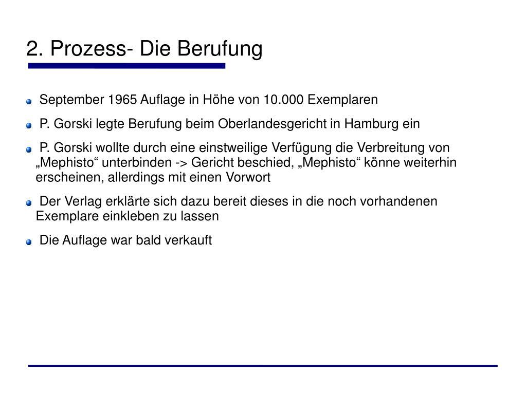 2. Prozess- Die Berufung