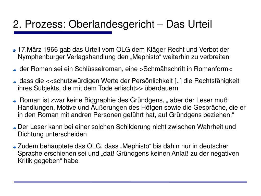 2. Prozess: Oberlandesgericht – Das Urteil