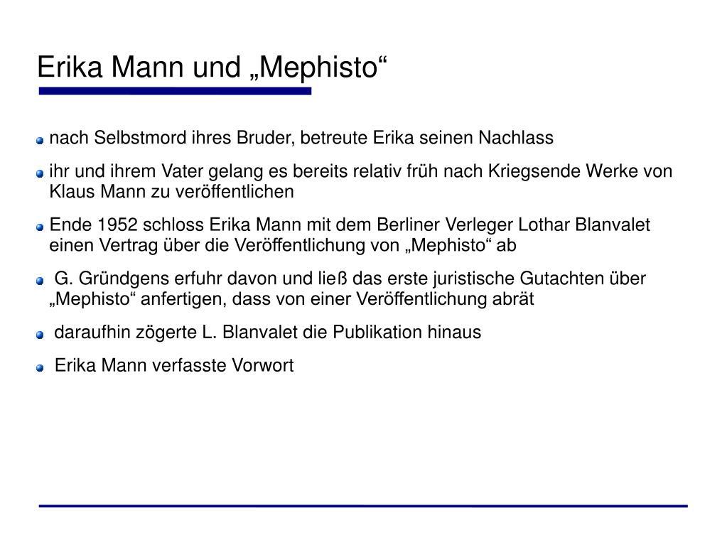 """Erika Mann und """"Mephisto"""""""