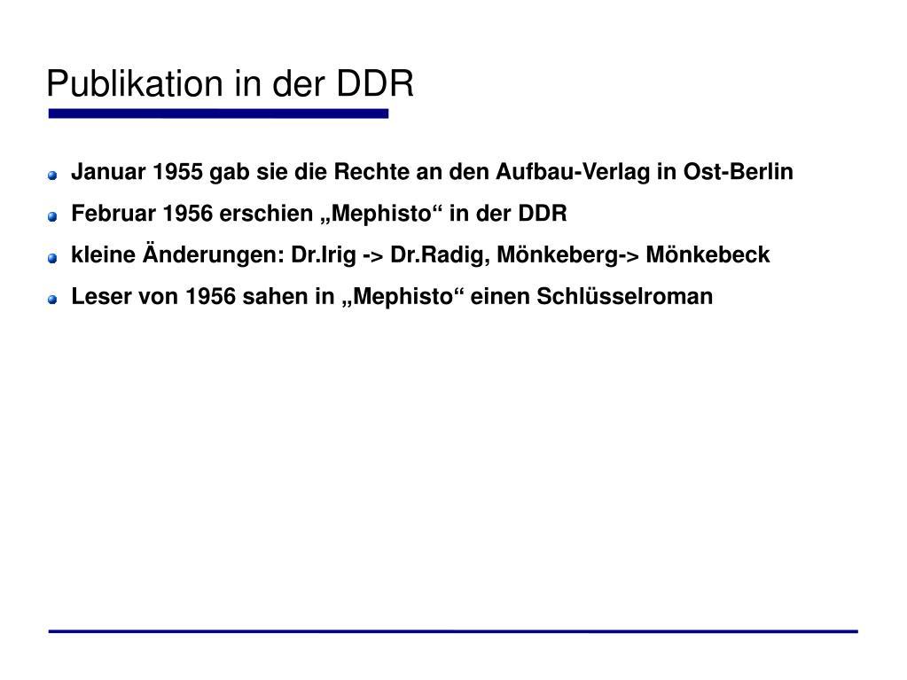 Publikation in der DDR
