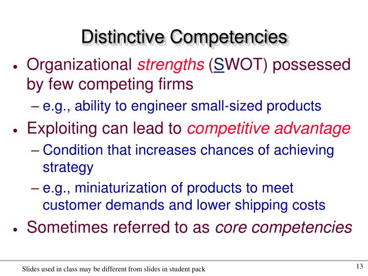 Distinctive Competencies