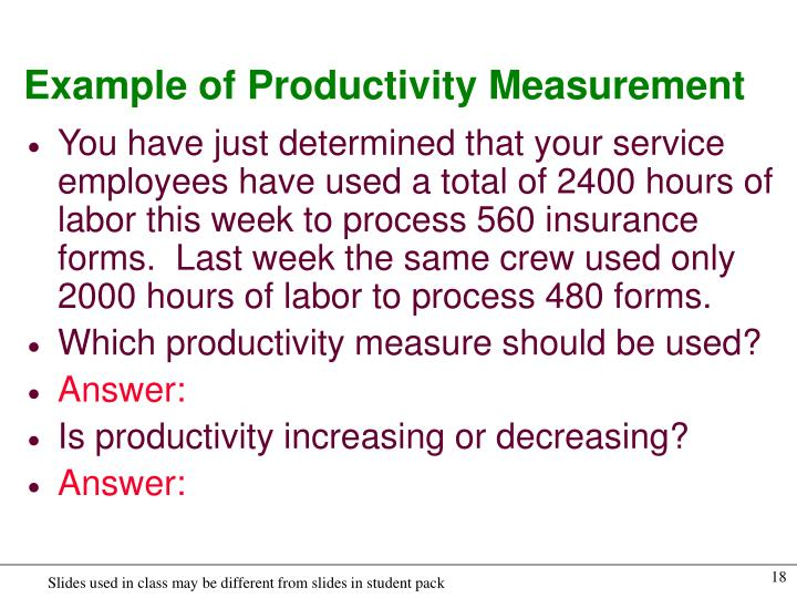 Example of Productivity Measurement