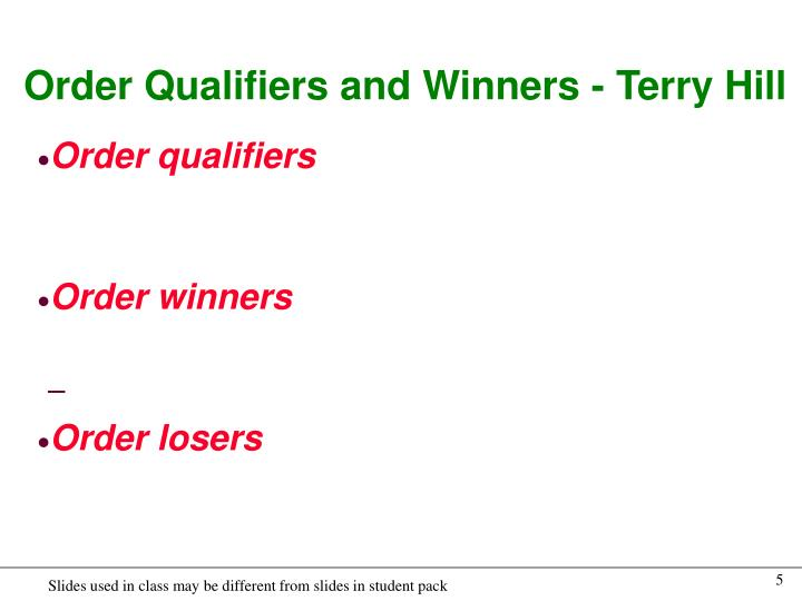 Order Qualifiers and Winners - Terry Hill