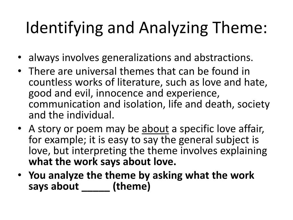Identifying and Analyzing Theme: