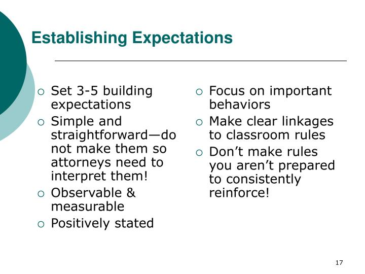 Set 3-5 building expectations