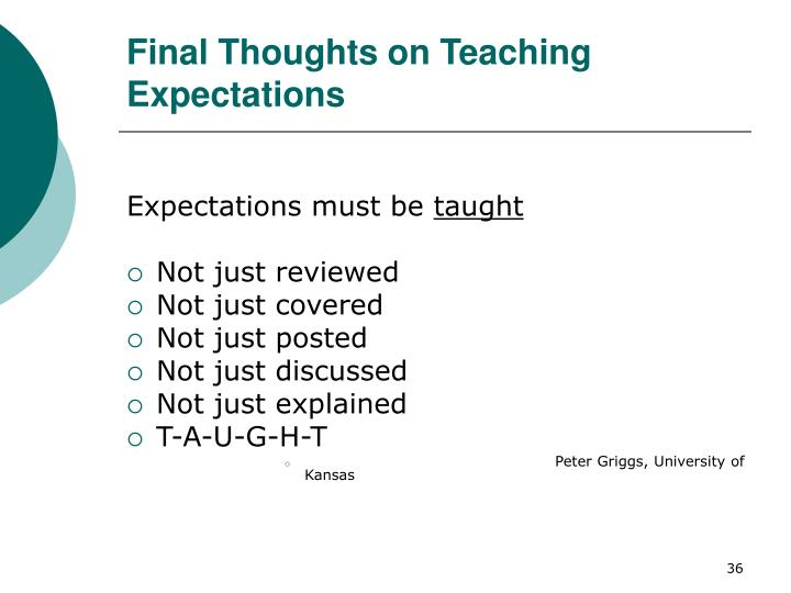 Final Thoughts on Teaching Expectations