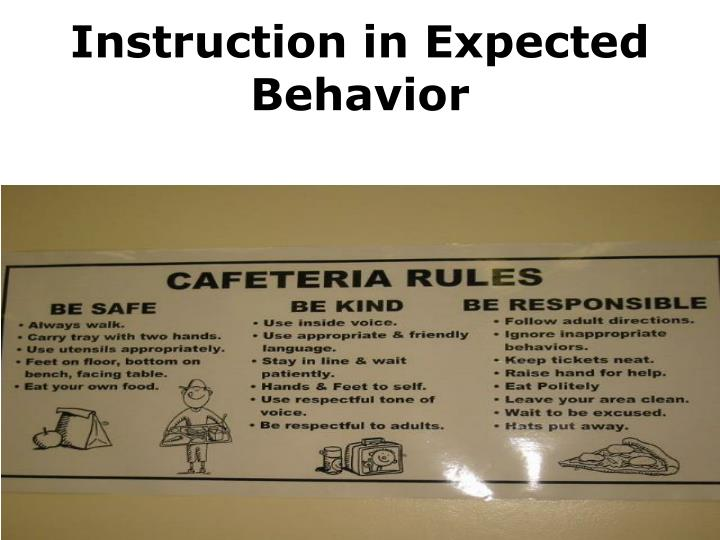 Instruction in Expected                                         Behavior