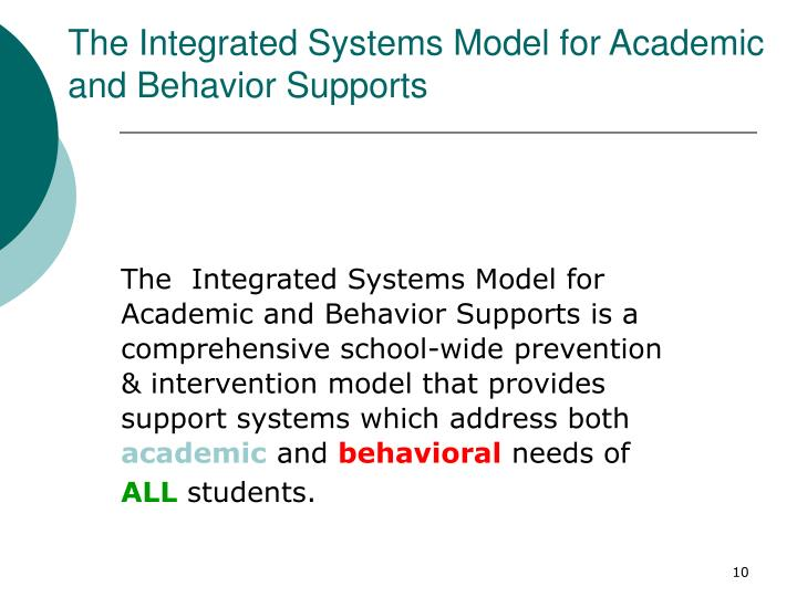 The Integrated Systems Model for Academic and Behavior Supports