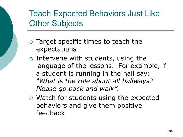 Teach Expected Behaviors Just Like Other Subjects