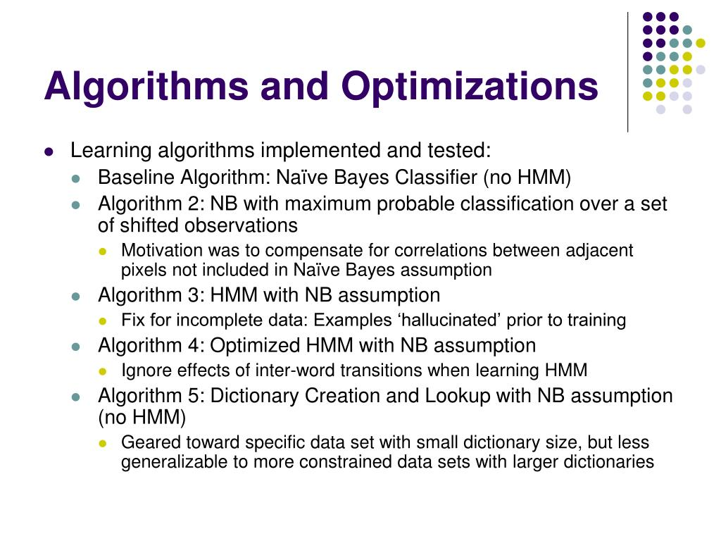 Algorithms and Optimizations