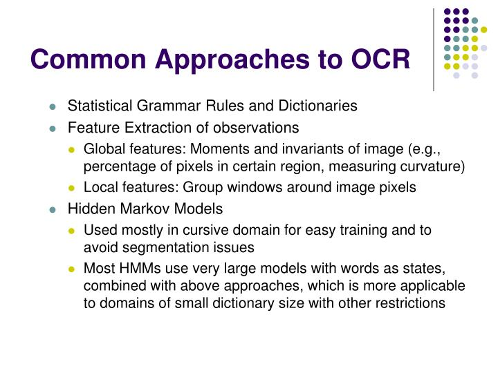 Common approaches to ocr