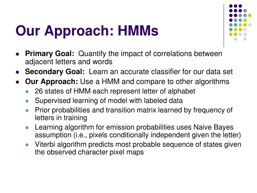 Our Approach: HMMs