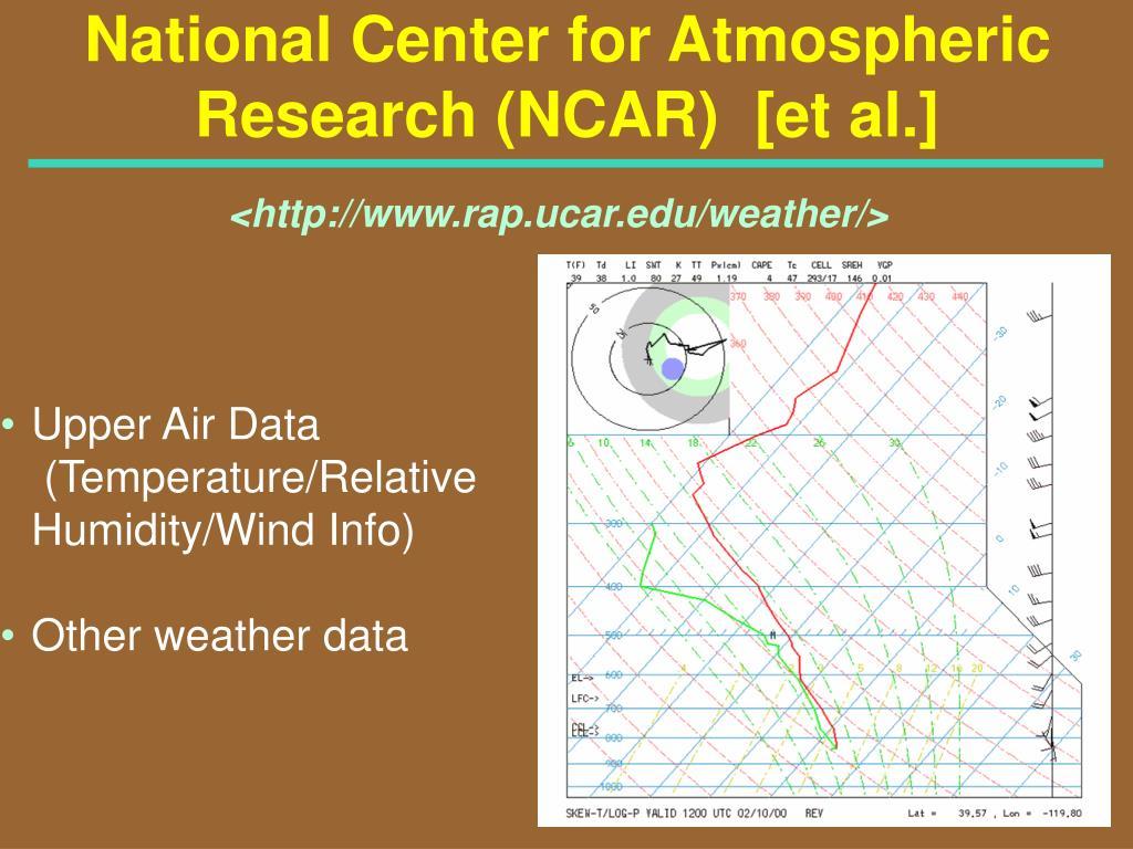National Center for Atmospheric Research (NCAR)  [et al.]