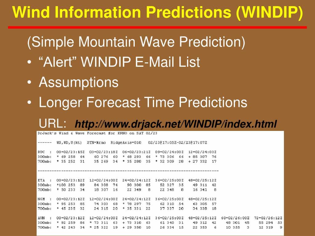 Wind Information Predictions (WINDIP)