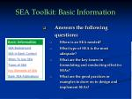 sea toolkit basic information