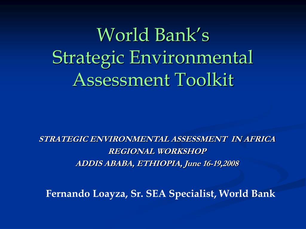 world bank s strategic environmental assessment toolkit