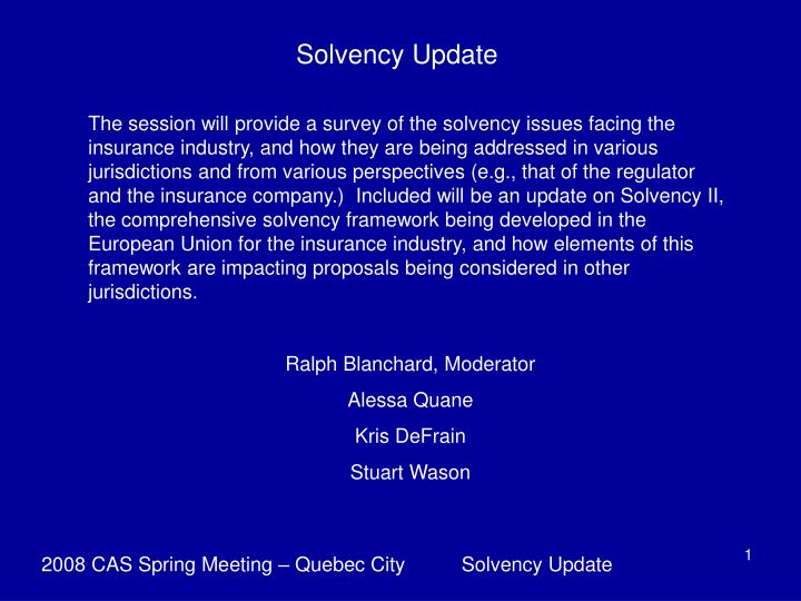 Solvency Update