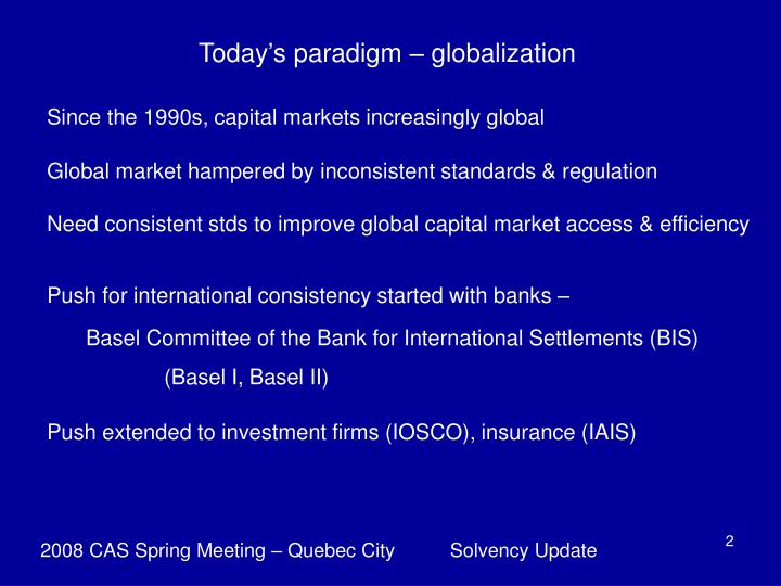 Today's paradigm – globalization