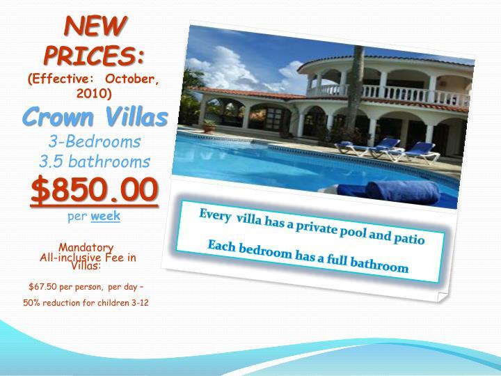New prices effective october 2010 crown villas 3 bedrooms 3 5 bathrooms 850 00 per week