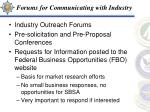 forums for communicating with industry