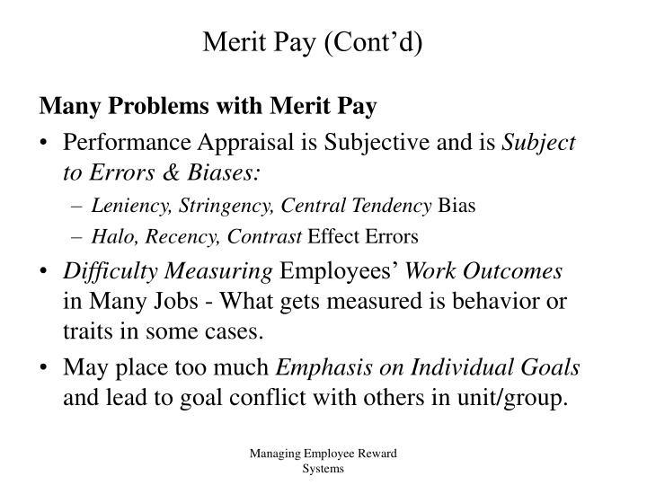 Merit pay cont d