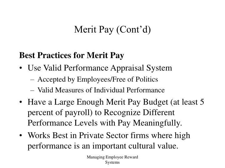 Merit Pay (Cont'd)