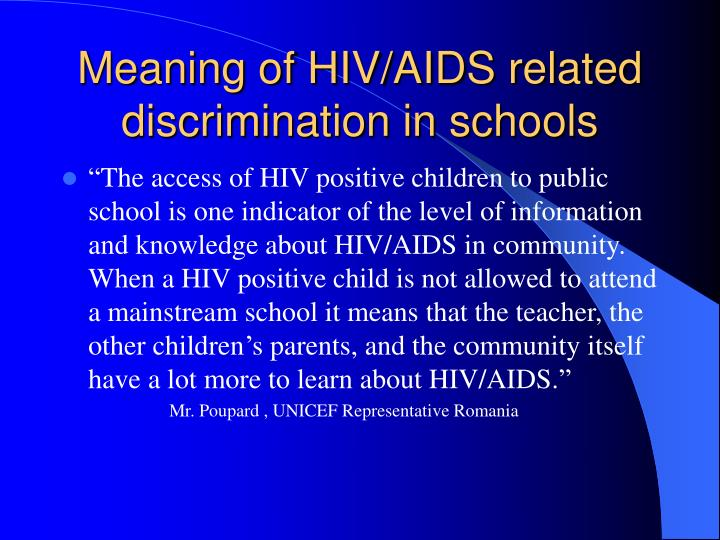 Meaning of HIV/AIDS related discrimination in schools
