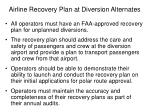 airline recovery plan at diversion alternates