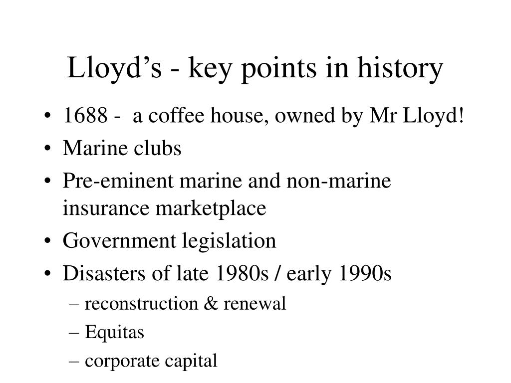 Lloyd's - key points in history