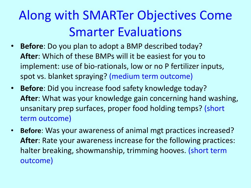 Along with SMARTer Objectives Come Smarter Evaluations