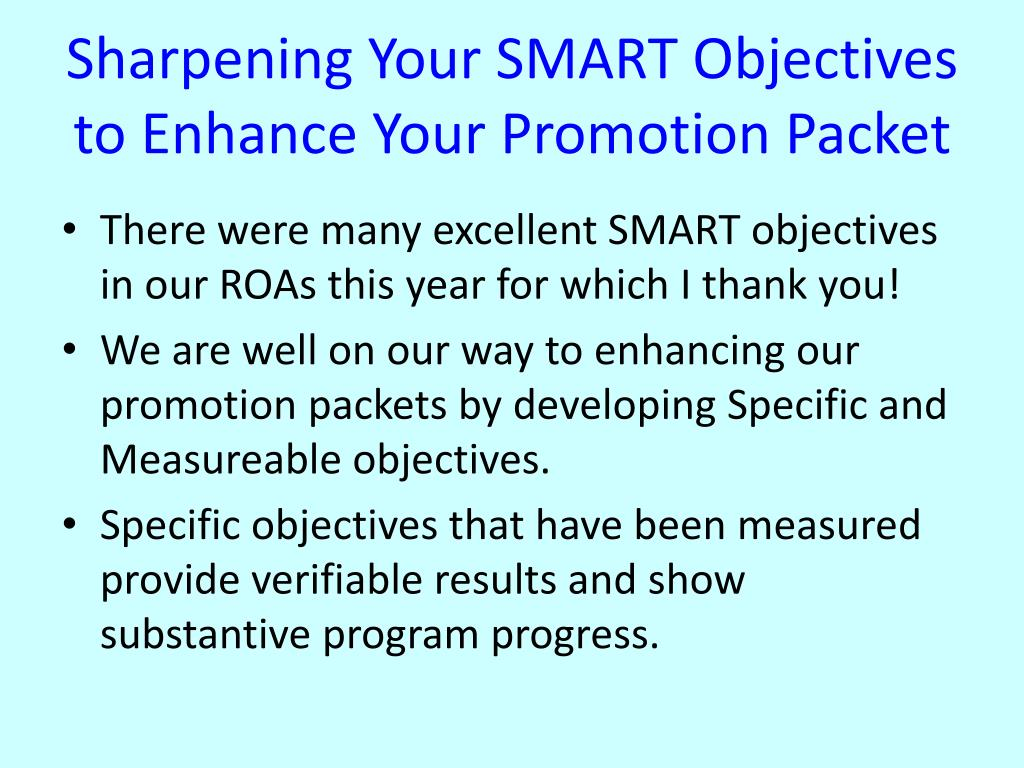 Sharpening Your SMART Objectives to Enhance Your Promotion Packet