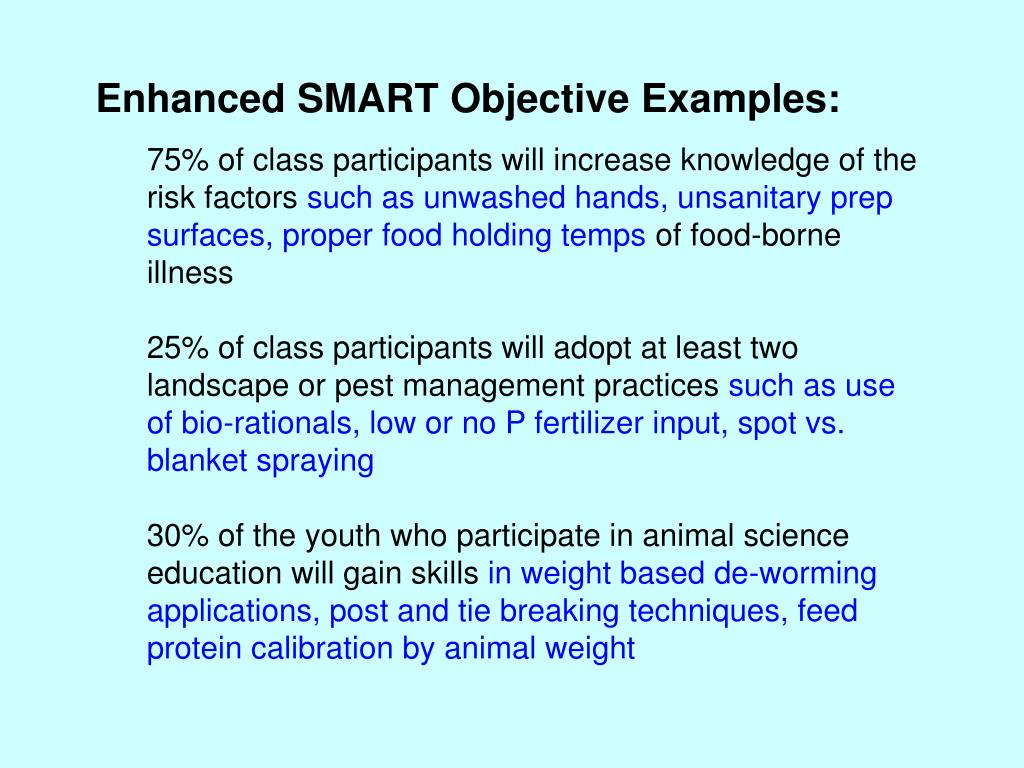 Enhanced SMART Objective Examples: