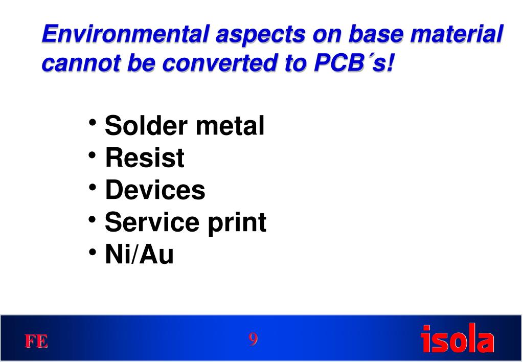 Environmental aspects on base material