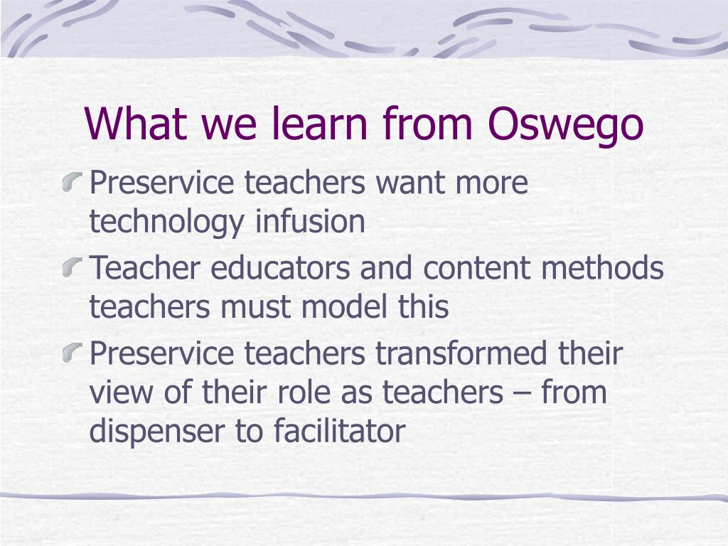 What we learn from Oswego